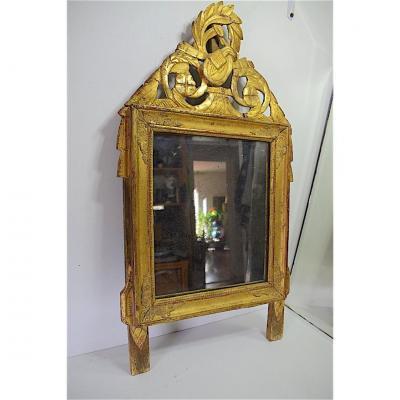 Miroir de Chambre ou D'alcôve en Bois Sculpté Doré Louis XVI  XVIII ème 18th
