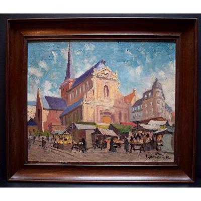Sloan Franck Signé Paris Place Scène De Marché église Impressionniste XX 20th