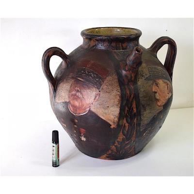 Painted Jug Of Four Portraits Of Generals War 1914 1918 Military Militaria Signed