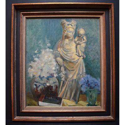 Léon Hector Blondeaux Madonna And Child Neo Gothic Maternity Religious Art Religion XX