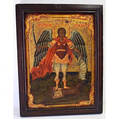 Russian Icon Angel And Christ Religion XIX 1841