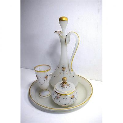 Carafe Night Service Says Crystal Water Glass Opaline Turkish Oriental Orientalist Decor XIX