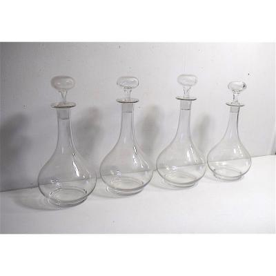 Lot Of Four Decanters To Decant Wine In Blown Glass XIX