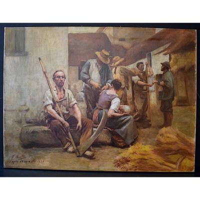 Genre Scene The Pay Of The Harvesters After Lhermitte Signed F Muller Ou Mullin 1935 XX