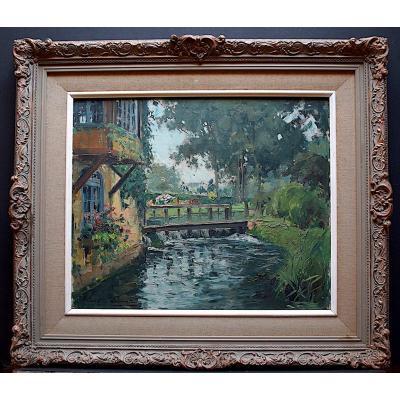 Paul Emile Lecomte Signed Landscape River Countryside Impressionist XX