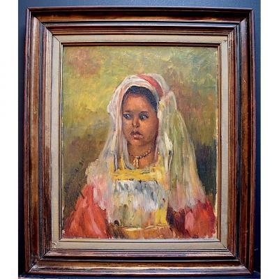 Portrait Orientaliste Jeune Fille Mauresque Berbère Signé à Identifier XX