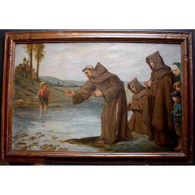 A Raynolt Religious Religion Miraculous Fishing Fish Jesus Christ Monks Signed XIX XX