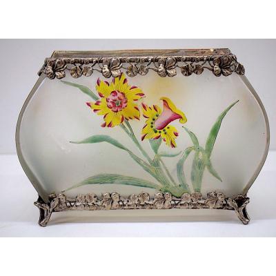 Vase Jardiniere Art Nouveau 1900 Acid Cleared Glass Flowers Silver Metal Jugendstil