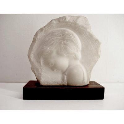 A Gennarelli Marbre Sculpté Profil Personnage Art Deco  XX
