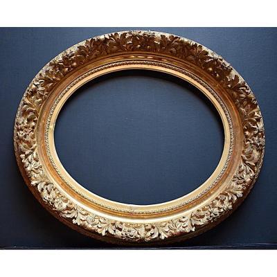 Cadre XIX ème Doré Ovale Médaillon 41 X 33 cm 6F  Frame Ref C936