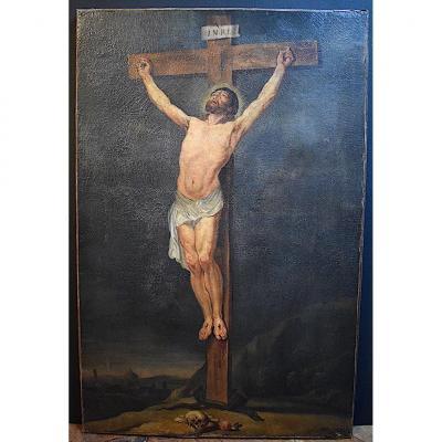 Christ en Croix Religion Crucifixion Vanité Crâne Mémento Mori Serpent XVII XVIII Suiveur de VAN LOO