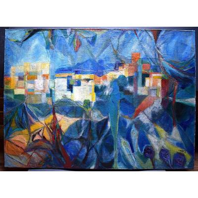André Chaix Abstrait Paysage Cubiste Lyon Ecole Lyonnaise  Sanzisme  XX