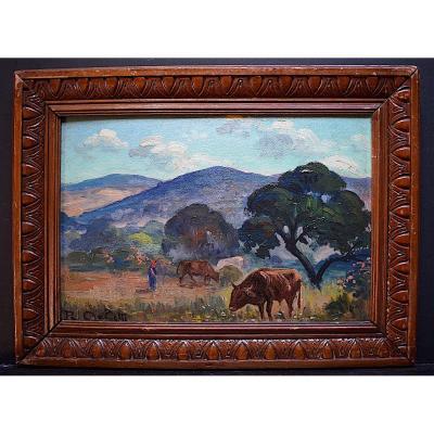 Aglietti Romeo Xavier Charles Orientalist Landscape Algeria Berber Cows XX