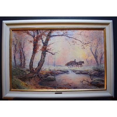 Henri Bésiné Paysage Provence Scène Champêtre Le Gué Le Lez Montpellier Impressionniste XX