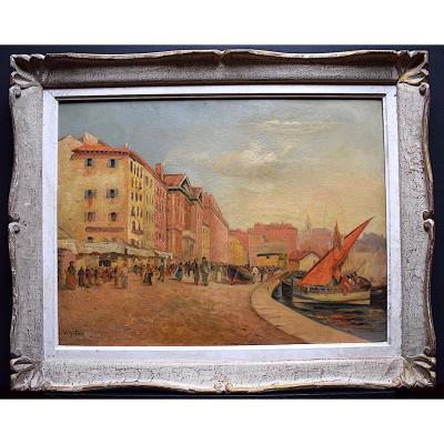 Marine Scène de Port Animée Bateaux Impressionniste Signé A Veigalier  XX