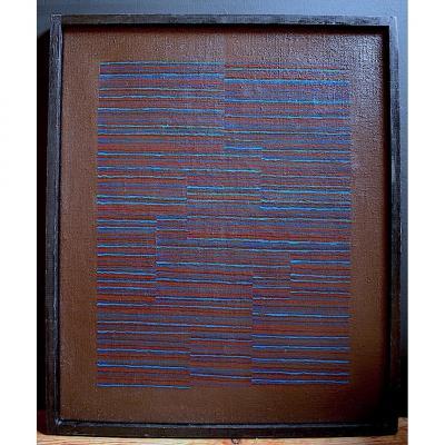 Abstrait signé Ladislas  Années 1970 XX Art Morderne  vintage