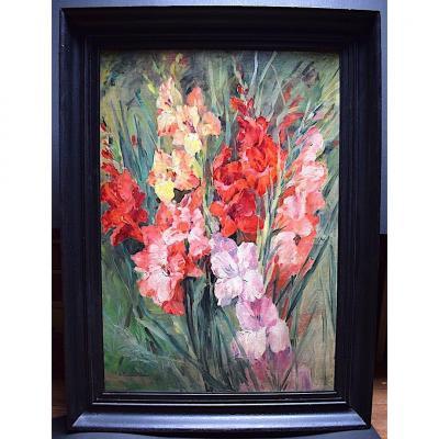 Nature Morte Fleurs Glaïeuls Signé H. Rambaud Laurent XX