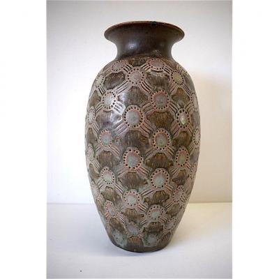 Art Deco Stoneware Vase Model 170 J Signed Mougin Nancy Luneville XX