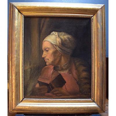 Portrait Femme âgée XIX ème dans Le goût du XIX ème Hollandais Livre Lecture RT169