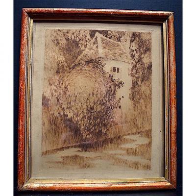 Henri Le Sidaner Impressionniste Gravure Au  Burin Le Moulin à Eau Impressionniste RT172