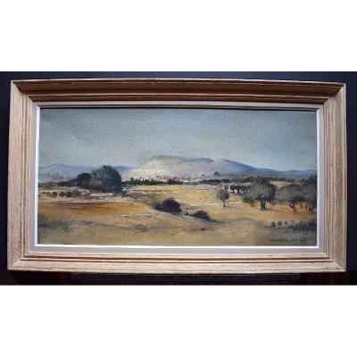 Paysage Provence Montagne Mont Ventoux Signé à identifier Années 1950 1960 XX RT176