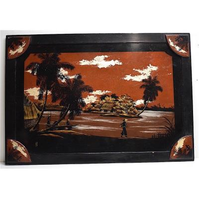 Tray Or Lacquer Panel Signed Indochina Vietnam China Asia XXth