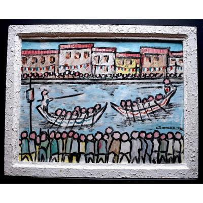 Ecole Sétoise Singular Art Figuration Libre Joute Sétoise Provence Signed To Identify XX Rt203