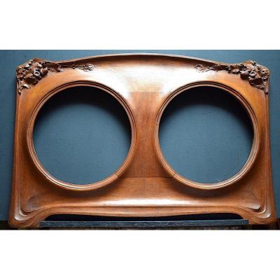 Cadre Double Rond pour  Plats Céramique Art Nouveau Estampillé Signé Paul Croix Marie  Jugendstil C93