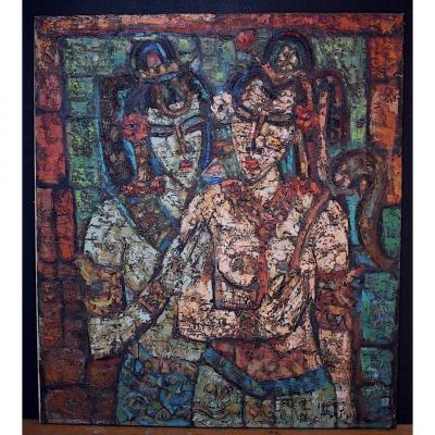 Young Indian Girls Ethnic Art India South America Signed To Identify XX Rt208