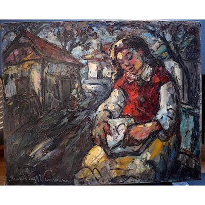 Maurice Vagh Weinmann Hongrie Petite Fille Enfant Lecture Fauve Expressionniste XX RT210