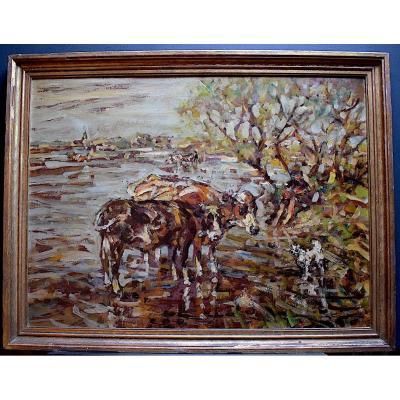 Julius Seyler Germany Post-impressionist Landscape Cows Animals XIX XX Rt213