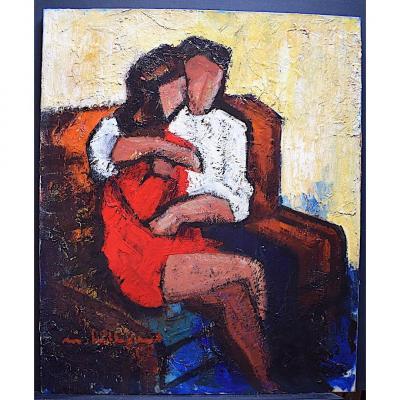 Bilbeaud Maurice Signed Sète Characters Couple Modern Art Cubist XX Rrt221