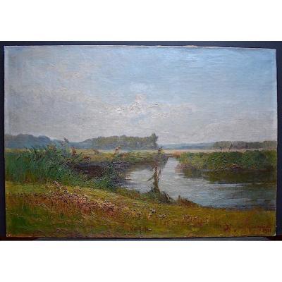 Signé Marquet ou Marguet Paysage Impressionniste étang  Campagne à identifier 1921 XX RT223