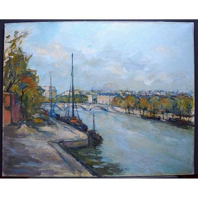 Signé Sarda Marine Bateaux Pont Paris Impressionniste XX RT 225