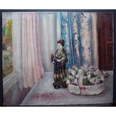 Nature morte Fleurs Poupée Japonaise Panier de Fleurs Impressionniste XIX RT227