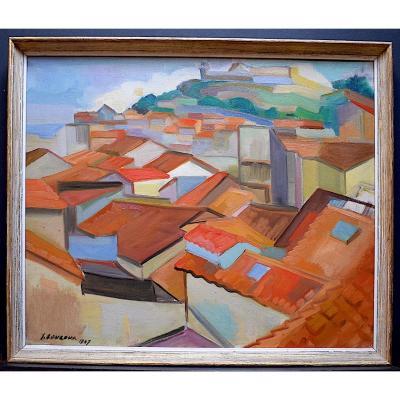 Cubiste Moderniste Fauve  Village Provençal Côte d'Azur XX  1947 Signé à identifier RT231