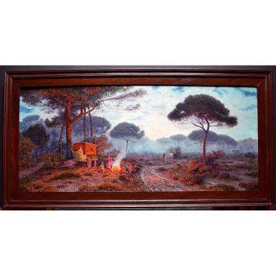 Henri Bésiné Camp de Gitans Camargue Provence Occitanie Impressionniste XX RT235