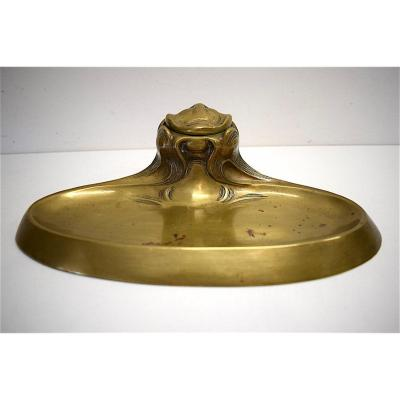 Encrier Bronze Art Nouveau 1900 Décor Naturaliste Proche Hector Guimard  Jugendstil Inkwell