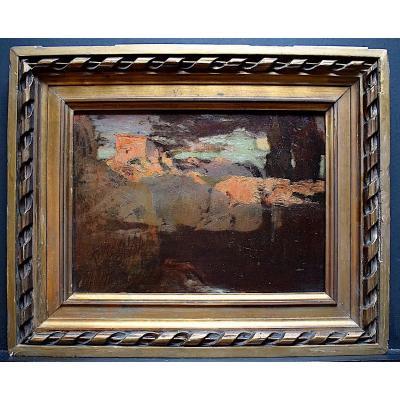 Provence Nocturne Landscape Signed L Carme Impressionist XIX XX Rt246