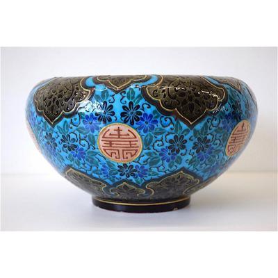 Cache Pot Céramique  Jules Vieillard Bordeaux Emaux Caranza Décor Japonisant  XIX