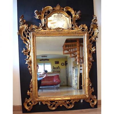 Miroir Vénitien Bois Doré XVIII Venise Italie 18Th