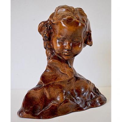 Amedeo GENNARELLI Buste Jeune  Fille Bois Sculpté Art Deco XX 20th
