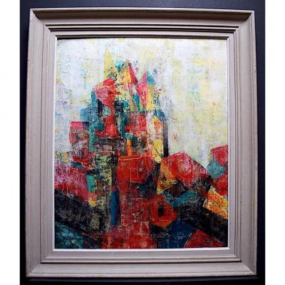 Abstract Village Church Modernist Cubism XX Rt252