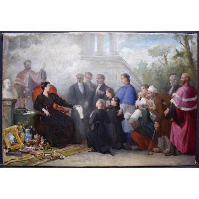Édouard-Antoine Marsal Scène de genre étude Vente de charité  Homme d'église XIX  RT254