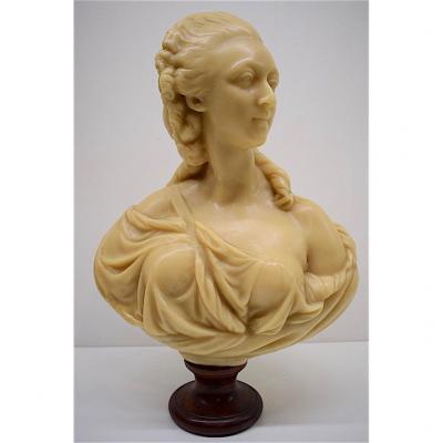 Buste en Cire de Madame Du Barry XVIII Signé Vernet Edition Vers 1900