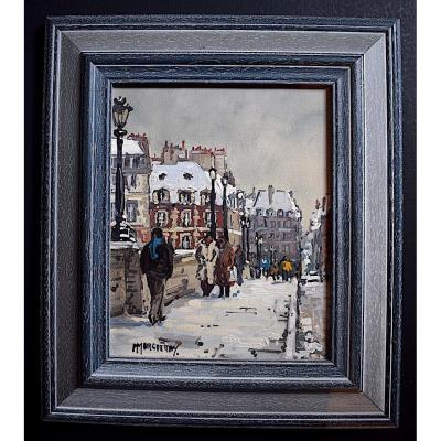 Animated Street Scene Paris Pont Neuf Signed M Margueray XX Rt265