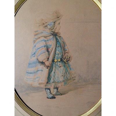Watercolor Spain Orientalist Portrait Child Signed A Geniole XIX XX Rt277