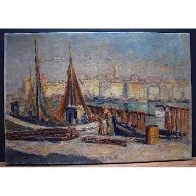 Marine Bateau Scène de Port Pêche Provence Provençal Marseille Signé Rougier XX RT280