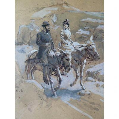 Watercolor Romantic Ballad Donkeys Gallant Scene Early XXth Us Or Ms Monogram Rt285