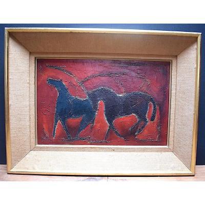 Deux Chevaux Animaux Art Animalier Art déco Moderniste XX RT287